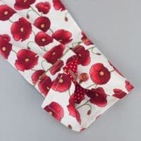 Grenouille Ladies Long Sleeve White With Red Poppies and Red Accents Shirt